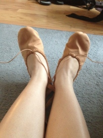 My elastics are pulled tight so that my shoes   fit my feet.