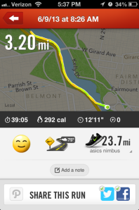 Well, other than this screen shot of my nike + data.
